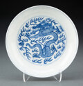 Ceramics & Porcelain, A Chinese Blue and White Dragon Plate Marks: si...