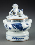 Ceramics & Porcelain, A Chinese Blue and White Covered Censer, Ming Dynasty. 4-1/2 x 3-3/4 inches (11.4 x 9.5 cm). ...