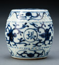 Ceramics & Porcelain, A Chinese Blue and White Garden Stool-Form Weight, Ming Dynasty. 3-1/4 x 3 inches (8.3 x 7.6 cm). ...