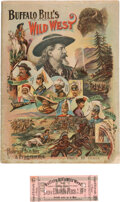 """Entertainment Collectibles:Circus, William F. """"Buffalo Bill"""" Cody: 1895 Wild West Show Program and Ticket.... (Total: 2 Items)"""