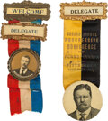 Political:Ribbons & Badges, Theodore Roosevelt: Two Ribbon Badges.... (Total: 2 Items)