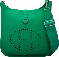 Hermès 29cm Menthe Clemence Leather Evelyne III PM Bag with Palladium Hardware P Square, 2012 Condition: 2 11.5...