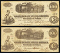 Confederate Notes:1862 Issues, T40 $100 1862 PF-1 Cr. 298 Two Examples Fine; About Uncirculated.. ... (Total: 2 notes)