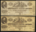 Confederate Notes:1862 Issues, CT42/334 Counterfeit $2 1862 Two Examples Fine; About Uncirculated.. ... (Total: 2 notes)