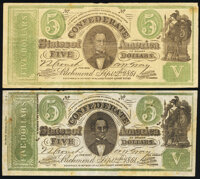 CT33/250B Counterfeit $5 1861 Fine; CT33/250G Counterfeit $5 1861 Fine-Very Fine. ... (Total: 2 notes)
