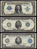 Fr. 237 $1 1923 Silver Certificate Very Fine; Fr. 866 $5 1914 Federal Reserve Note Very Fine; Fr. 971a $20 1914 Fede...