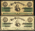 Confederate Notes:1861 Issues, CT16/86B Counterfeit $50 1861 Extremely Fine;. CT16/86E Counterfeit $50 1861 Fine-Very Fine.. ... (Total: 2 notes)