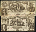 Confederate Notes:1861 Issues, CT20/141 Counterfeit $20 1861 Very Fine-Extremely Fine;. CT20/141D Counterfeit $20 1861 . ... (Total: 2 notes)
