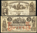 Confederate Notes:1861 Issues, CT31/245B Counterfeit $5 1861 Very Fine;. CT37/284A Counterfeit $5 1861 Fine.. ... (Total: 2 notes)