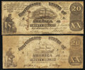 Confederate Notes:1861 Issues, CT18/107A-1 Counterfeit $20 1861 Very Good;. CT18/132A Counterfeit $20 1861 Fine.. ... (Total: 2 notes)