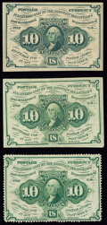 Fr. 1241 10¢ First Issue Very Fine-Extremely Fine; Fr. 1242 10¢ First Issue Extremely Fine; Fr. 1243 10¢...