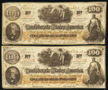 Confederate Notes:1862 Issues, CT41/319? $100 1862 Two Examples Very Fine.. ... (Total: 2 notes)