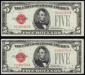 Small Size:Legal Tender Notes, Fr. 1531 $5 1928F Narrow Legal Tender Notes. Two Examples. Crisp Uncirculated.. ... (Total: 2 items)