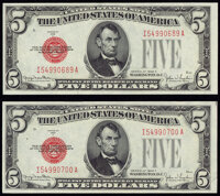 Fr. 1531 $5 1928F Narrow Legal Tender Notes. Two Examples. Crisp Uncirculated. ... (Total: 2 items)