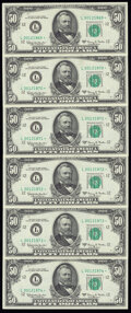 Fr. 2113-L* $50 1963A Federal Reserve Star Notes. Six Cnsecutive Examples. About Uncirculated or Better. ... (Total: 6 n...