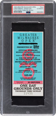 1996 Tiger Woods Professional Debut Full Ticket, PSA Authentic