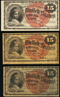 Fr. 1267 15¢ Fourth Issue Two Examples Very Good; About New; Fr. 1271 15¢ Fourth Issue Fine. ... (Total: 3 not...