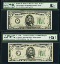 Fr. 1959-A; C $5 1934C Wide Federal Reserve Notes. PMG Gem Uncirculated 65 EPQ. ... (Total: 2 notes)