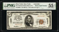 National Bank Notes:New York, Binary Serial A011111A New York, NY - $5 1929 Ty. 1 The National Safety Bank & Trust Company Ch. # 13260 PMG About Unc...