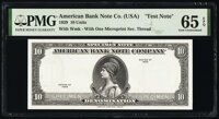 """American Bank Note Company """"10 Units"""" Test Note Specimen Series 1929 PMG Gem Uncirculated 65 EPQ"""