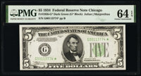Fr. 1956-G* $5 1934 Federal Reserve Star Note. PMG Choice Uncirculated 64 EPQ