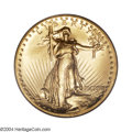 High Relief Double Eagles: , 1907 $20 High Relief, Flat Rim MS65 PCGS. Bright and ...