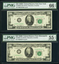 Small Size:Federal Reserve Notes, Fr. 2069-B; B*; I; L* $20 1969B Federal Reserve Note. PMG Graded Very Fine 30-Gem Uncirculated 66 EPQ; PCGS Apparent Very Fine... (Total: 4 notes)
