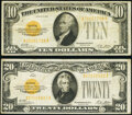 Small Size:Gold Certificates, Fr. 2400 $10 1928 Gold Certificate. Very Fine;. Fr. 2402 $20 1928 Gold Certificate. Very Fine.. ... (Total: 2 notes)