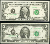Mary Ellen Withrow Courtesy Autographed Fr. 1919-K $1 1993 Federal Reserve Note. Choice Crisp Uncirculated; Francine I...
