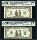 Small Size:Federal Reserve Notes, Radar Serial Numbers 18599581; 18600681 Fr. 1921-D $1 1995 Federal Reserve Notes. PMG Superb Gem Unc 67 EPQ (2).. ... (Total: 2 notes)