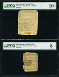 Colonial Notes:Connecticut, Connecticut June 19, 1776 5s PMG Very Good 10 Net;. Connecticut October 11, 1777 5d PMG Very Good 8 Net.. ... (Total: 2 notes)