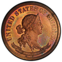 1869 50C Standard Silver Half Dollar, Judd-751, Pollock-834, Low R.7, PR62 Red and Brown PCGS. PCGS Population: (1/5 and...