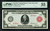 Fr. 893a $10 1914 Red Seal Federal Reserve Note PMG About Uncirculated 55