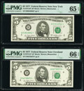 Small Size:Federal Reserve Notes, Fr. 1974-B*; D* $5 1977 Federal Reserve Star Notes. PMG Gem Uncirculated 66 EPQ; Gem Uncirculated 65 EPQ.. ... (Total: 2 notes)