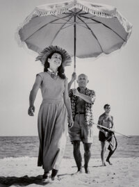 Robert Capa (American, 1913-1954) Pablo Picasso and Françoise Gilot in France, 1948 Digital pigment