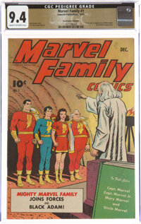 The Marvel Family #1 The Promise Collection Pedigree (Fawcett Publications, 1945) CGC NM 9.4 Cream to off-white pages...