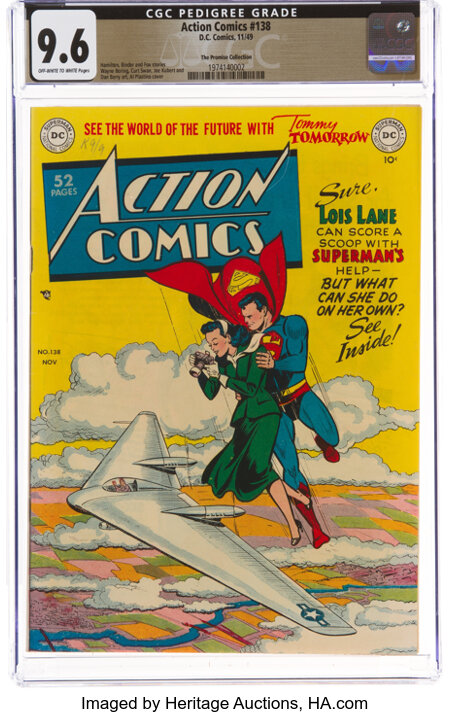 Action Comics #138 The Promise Collection Pedigree (DC, 1949) CGC NM+ 9.6 Off-white to white pages....