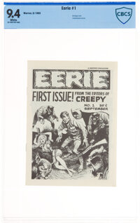 Eerie #1 First Printing (Warren, 1965) CBCS NM 9.4 White pages