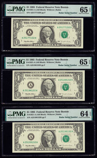 Radar Serial Numbers 25177152; 25188152; 25199152 Fr. 1921-A $1 1995 Federal Reserve Notes. PMG Gem Uncirculated 65 EPQ...
