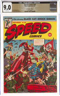 Speed Comics #34 The Promise Collection Pedigree (Harvey, 1944) CGC VF/NM 9.0 White pages