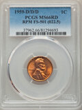 Lincoln Cents, 1959-D/D/D 1C Repunched Mintmark, FS-501 MS66 Red PCGS. (022.5). PCGS Population: (25/0). NGC Census: (13/1). MS66. Mintag...