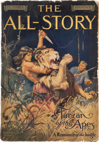 Edgar Rice Burroughs. Tarzan of the Apes. In The All-Story, Volume XXIV, Number 2, O