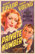 Movie Posters:Drama, Private Number (20th Century Fox, 1936). Folded, Fine/Very...
