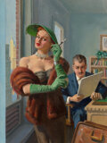 Pulp, Pulp-like, Digests and Paperback Art, American Artist (20th Century). Indiscretions of a TV Sinner, paperback cover, 1954. Oil on canvas. 16 x 12 inches (40.6...