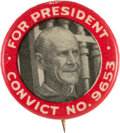 Political:Pinback Buttons (1896-present), Eugene V. Debs: Classic Convict Pin....