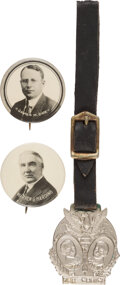Political:Pinback Buttons (1896-present), Warren G. Harding and James M. Cox: Trio of Campaign Items....