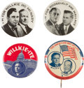 """Political:Pinback Buttons (1896-present), Franklin D. Roosevelt and Wendell Willkie: Set of Four 7/8"""" Pinbacks...."""