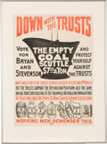 """Political:Posters & Broadsides (1896-present), William Jennings Bryan: """"Down With The Trusts"""" Poster...."""