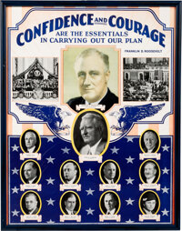 """Franklin D. Roosevelt: Rare """"Confidence and Courage"""" Poster"""