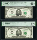 Small Size:Federal Reserve Notes, Fr. 1972-K $5 1969C Federal Reserve Note. PMG Gem Uncirculated 65 EPQ;. Fr. 1972-K* $5 1969C Federal Reserve Star Note. PM... (Total: 2 notes)